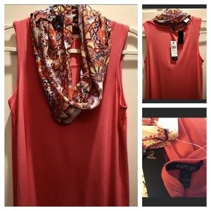 NWT Apt 9 sz S orange tank with matching scarf